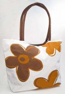 grocery tote floral FLOWER Brown full ZIPPER BEACH BAG summer shopping