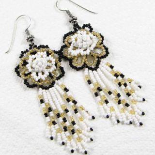 White Black Golden Seed Beaded Flower Earrings Handmade