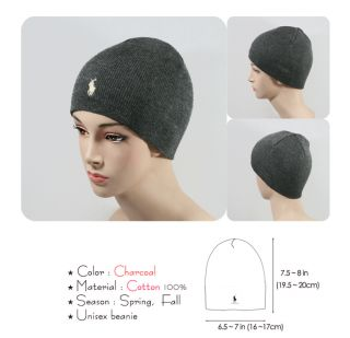 PO07 Charcoal Color Polo Beanie 100% Cotton Skull Men Women Stay warm