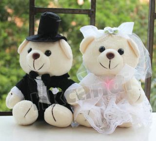 Couple of Wedding White Dress Teddy Bear Stuffed Animals Wedding Gifts