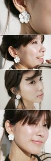 New Fashion White Big Orchid Flower Stud Earrings Hot