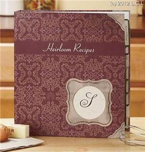 Monogram Heirloom Recipe Keeper Hardcover Binder Recipe Cards Page