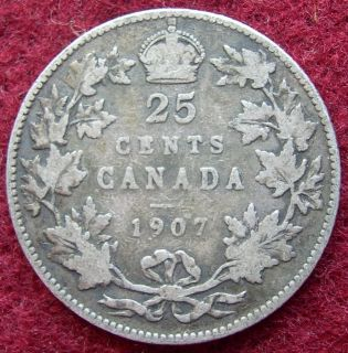 Canadian 25 cents coin dated 1907. KM# 11. For condition please see