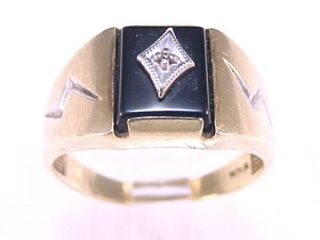 Mens Solitaire Diamond Ring Set in Black Onyx Brushed 10K Yellow Gold