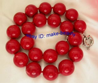 Genuine Big 26mm Natural Round Red Crude Coral Necklace