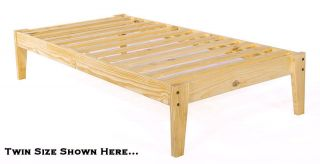 twin xl pine wood platform bed frame extra long a super strong and