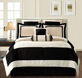 8pcs Black Beige Soft Micro Fiber Bed in a bag Comforter Set Queen