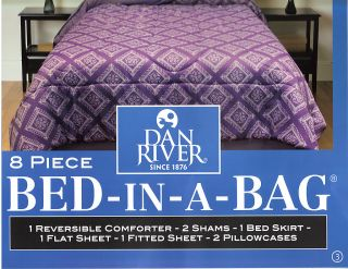 Piece King Size Bed in A Bag Comforter Dan River Purple New