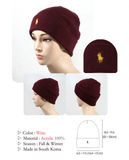 Color Polo Acrylic Cuff Knit Beanie Men Women Warm Winter Ski Hat New