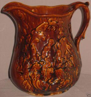 Antique Bennington Pottery Pitcher Hunt Scene England