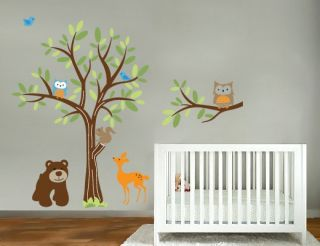 Tree vinyl wall decal with bear owls birds deer and a tree branch set