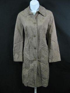 Bensimon Brown Flower Damask Trench Coat Jacket 40