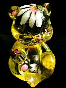 FENTON ART GLASS BUTTERCUP SITTING BEAR w/HP FLORAL DAISIES & LADY BUG
