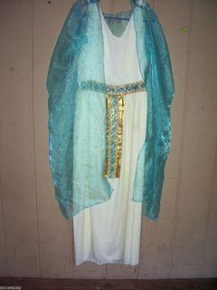 Egyptian Queen in White and Aqua Blue Long Gown Size Talla L