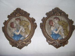 Beautiful VTG Pair Victorian Wall Art Stone Ceramic Man & Woman