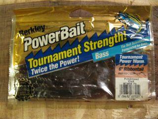 Berkley Powerbait 6 Ribbontail Fishing Lures Worms Pumpkinseed 10