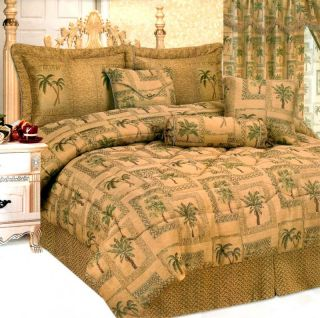 Green Palm Tree Bed in A Bag Comforter Set Queen Brown