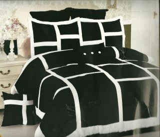 14pc Bed in A Bag Comforter Set Black and White Squaresking Size S02