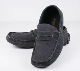 BED Stu Mens DOCKWEILER loafer shoes Grey suede leather 47201005
