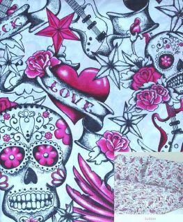 Skull Tattoo White 3pc Twin Sheets Bedding Set New