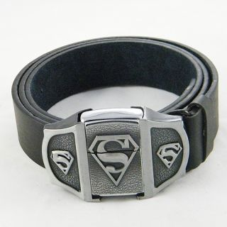 Superman Superhero Mens Belt Buckles Lighter leather Waist Belt Gift
