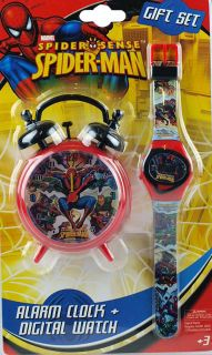 Spiderman Marvel Bedroom Alarm Clock and Digital Watch Set