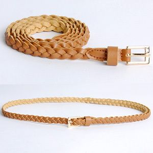 Womens Braided Faux Leather Skinny Belts 5Colors