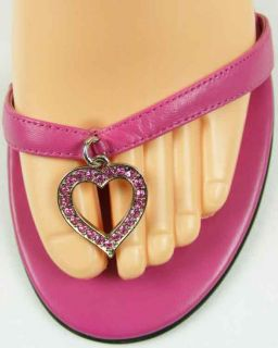 BEBE HOT Bright PINK SANDALS with ANKLE STRAPS & TOE HEART LOGO Womens