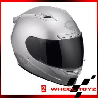 Bell Vortex Metallic Silver Solid Full Face Motorcycle Helmet Small S