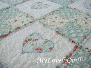 Pale Green Heart Appliques Ruffles Patchwork Quilt Bedspread 3pc Set