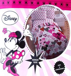 MINNIE MOUSE HEARTS TWIN COMFORTER SHEETS 4PC BEDDING SET NEW