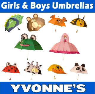 Kids Umbrellas Childs Boys Girls Novelty Brolly Frog Monkey Princess