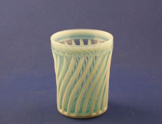 Vintage EAPG A J Beatty Glass Company Blue Beatty Swirl Tumbler C 1890