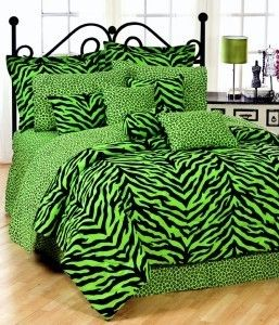 Zebra Green 6pc Twin Bed in A Bag Comforter Set Animal
