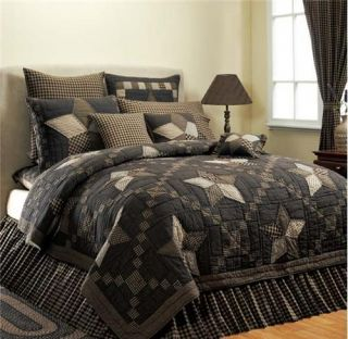 Country 5 PT Star Quilt Bed Bag Twin Queen Cal King Black Check