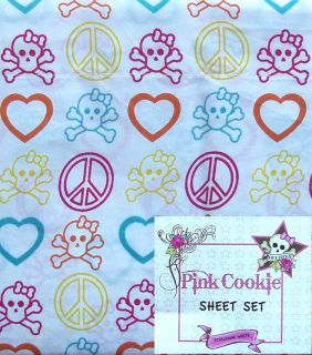 Pink Cookie Skulls Hearts Peace White 3pc Twin Sheets Bedding Set New