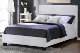 Hudson White Vinyl Full Size Panel Bed by Homelegance 8155FW 1