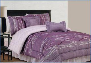 Bellevue Purple, Gray & White 6 Piece Queen Comforter Bed In A Bag Set