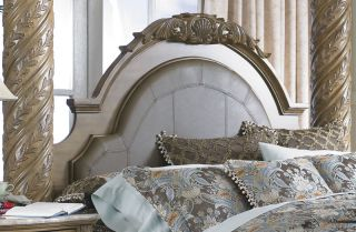 Collezione Europa Poster Canopy Marble Leather Bedroom Set