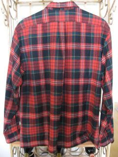Polo Ralph Lauren Red Black Green Plaid Wool LS Shirt L