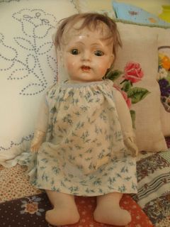 Unusual Antique Composition Bester Doll Co Baby Doll with Cloth Body