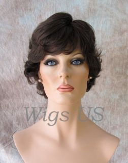 Human Hair Wigs Short Monofilament Hand Tied Medium Dark Brown Wig FSP