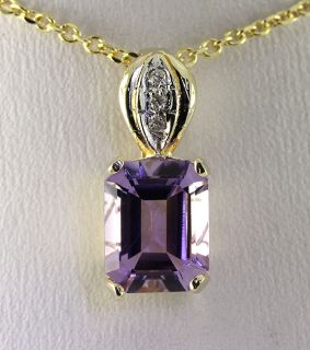 Lucid 3 50ct Emerald Cut Amethyst Diamond 14k Yellow Gold Pendant