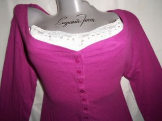 SEXY~PINK~white~LACE~lacy~THERMAL~layered~HENLEY~punk~GOTH~t shirt~TOP