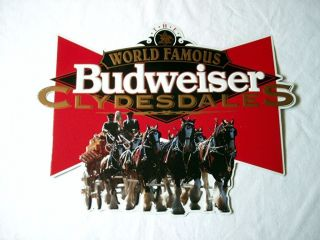 Budweiser Beer World Famous Clydesdales Tin Metal Sign 1993