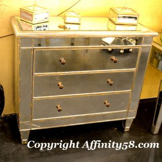 Bethel Antique Mirrored 3 Drawer Dresser Vanity Cabinet Hall Chest $