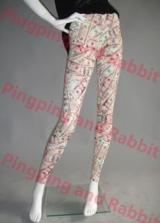 Money Print Dollar Bills Benjamins Leggings Tights Pants Spandex