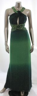 Betsy Adams New Green Womens Keyhole Ombre Glitter Empire Waist Dress