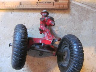 Vintage Cast Iron Tractor Driver with Wheels as Is Restore Toy 99