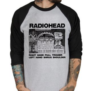 Radiohead Shrug rock band UK Baseball Jersey t shirt 3/4 sleeve Raglan